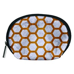 Hexagon2 White Marble & Yellow Grunge (r) Accessory Pouches (medium)  by trendistuff