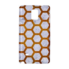 Hexagon2 White Marble & Yellow Grunge (r) Samsung Galaxy Note 4 Hardshell Case by trendistuff