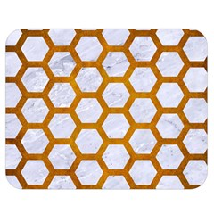 Hexagon2 White Marble & Yellow Grunge (r) Double Sided Flano Blanket (medium)  by trendistuff