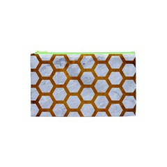 Hexagon2 White Marble & Yellow Grunge (r) Cosmetic Bag (xs) by trendistuff