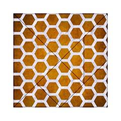 Hexagon2 White Marble & Yellow Grunge Acrylic Tangram Puzzle (6  X 6 ) by trendistuff