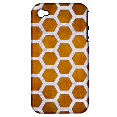 Hexagon2 White Marble & Yellow Grunge Apple Iphone 4/4s Hardshell Case (pc+silicone) by trendistuff