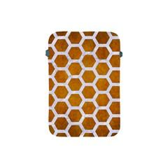Hexagon2 White Marble & Yellow Grunge Apple Ipad Mini Protective Soft Cases by trendistuff