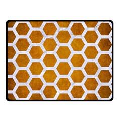 Hexagon2 White Marble & Yellow Grunge Double Sided Fleece Blanket (small)  by trendistuff