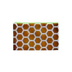 Hexagon2 White Marble & Yellow Grunge Cosmetic Bag (xs) by trendistuff