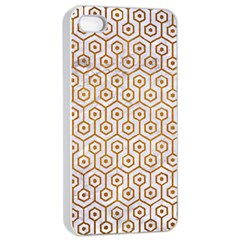 Hexagon1 White Marble & Yellow Grunge (r) Apple Iphone 4/4s Seamless Case (white) by trendistuff