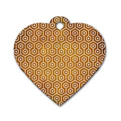Hexagon1 White Marble & Yellow Grunge Dog Tag Heart (one Side) by trendistuff