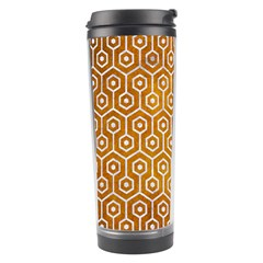 Hexagon1 White Marble & Yellow Grunge Travel Tumbler by trendistuff