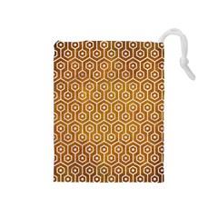 Hexagon1 White Marble & Yellow Grunge Drawstring Pouches (medium)