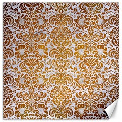 Damask2 White Marble & Yellow Grunge (r) Canvas 12  X 12   by trendistuff