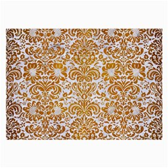 Damask2 White Marble & Yellow Grunge (r) Large Glasses Cloth (2 Side) by trendistuff