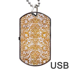 Damask2 White Marble & Yellow Grunge (r) Dog Tag Usb Flash (two Sides) by trendistuff