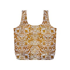 Damask2 White Marble & Yellow Grunge Full Print Recycle Bags (s)  by trendistuff