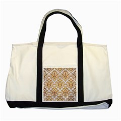 Damask1 White Marble & Yellow Grunge (r) Two Tone Tote Bag by trendistuff