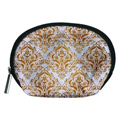 Damask1 White Marble & Yellow Grunge (r) Accessory Pouches (medium)  by trendistuff