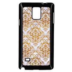Damask1 White Marble & Yellow Grunge (r) Samsung Galaxy Note 4 Case (black) by trendistuff