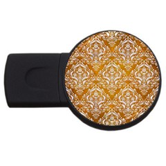 Damask1 White Marble & Yellow Grunge Usb Flash Drive Round (2 Gb) by trendistuff