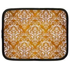 Damask1 White Marble & Yellow Grunge Netbook Case (large) by trendistuff