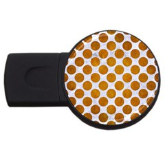 Circles2 White Marble & Yellow Grunge (r) Usb Flash Drive Round (2 Gb) by trendistuff