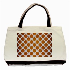 Circles2 White Marble & Yellow Grunge (r) Basic Tote Bag (two Sides) by trendistuff