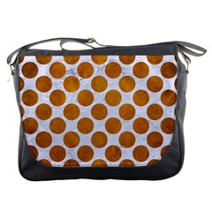 Circles2 White Marble & Yellow Grunge (r) Messenger Bags by trendistuff