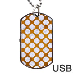 Circles2 White Marble & Yellow Grungecircles2 White Marble & Yellow Grunge Dog Tag Usb Flash (one Side) by trendistuff