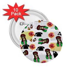 Office Girl Pattern 2 25  Buttons (10 Pack)  by snowwhitegirl