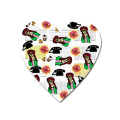 Office Girl Pattern Heart Magnet by snowwhitegirl