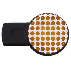 Circles1 White Marble & Yellow Grunge (r) Usb Flash Drive Round (4 Gb) by trendistuff