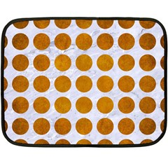 Circles1 White Marble & Yellow Grunge (r) Double Sided Fleece Blanket (mini)  by trendistuff