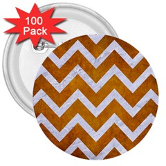 Chevron9 White Marble & Yellow Grunge 3  Buttons (100 Pack)  by trendistuff
