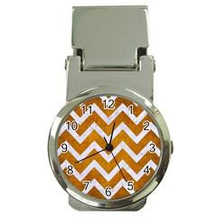 Chevron9 White Marble & Yellow Grunge Money Clip Watches by trendistuff