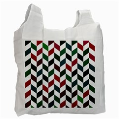 Zigzag Chevron Pattern Green Red Recycle Bag (one Side) by snowwhitegirl