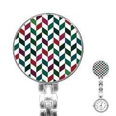 Zigzag Chevron Pattern Green Red Stainless Steel Nurses Watch by snowwhitegirl