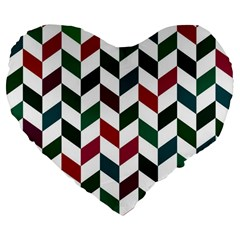 Zigzag Chevron Pattern Green Red Large 19  Premium Flano Heart Shape Cushions by snowwhitegirl