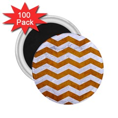 Chevron3 White Marble & Yellow Grunge 2 25  Magnets (100 Pack)  by trendistuff