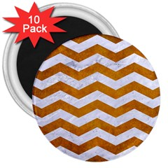 Chevron3 White Marble & Yellow Grunge 3  Magnets (10 Pack)  by trendistuff