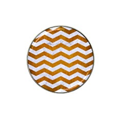 Chevron3 White Marble & Yellow Grunge Hat Clip Ball Marker (10 Pack) by trendistuff