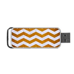 Chevron3 White Marble & Yellow Grunge Portable Usb Flash (two Sides) by trendistuff