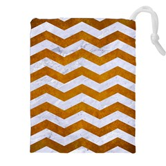 Chevron3 White Marble & Yellow Grunge Drawstring Pouches (xxl) by trendistuff