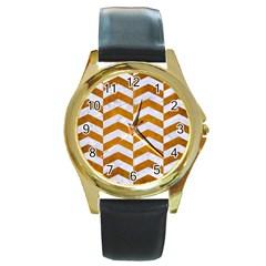 Chevron2 White Marble & Yellow Grunge Round Gold Metal Watch by trendistuff