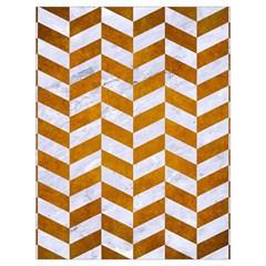 Chevron1 White Marble & Yellow Grunge Drawstring Bag (large) by trendistuff
