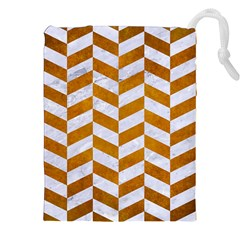 Chevron1 White Marble & Yellow Grunge Drawstring Pouches (xxl) by trendistuff