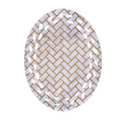 Brick2 White Marble & Yellow Grunge (r) Oval Filigree Ornament (two Sides) by trendistuff