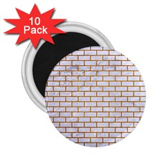 Brick1 White Marble & Yellow Grunge (r) 2 25  Magnets (10 Pack)  by trendistuff