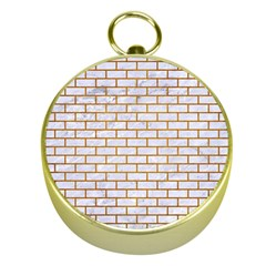Brick1 White Marble & Yellow Grunge (r) Gold Compasses by trendistuff