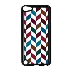 Zigzag Chevron Pattern Blue Brown Apple Ipod Touch 5 Case (black) by snowwhitegirl