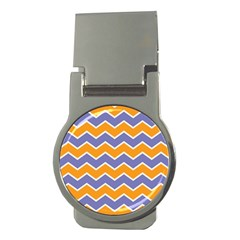 Zigzag Chevron Pattern Blue Orange Money Clips (round)  by snowwhitegirl