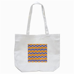 Zigzag Chevron Pattern Blue Orange Tote Bag (white) by snowwhitegirl