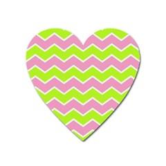 Zigzag Chevron Pattern Green Pink Heart Magnet by snowwhitegirl